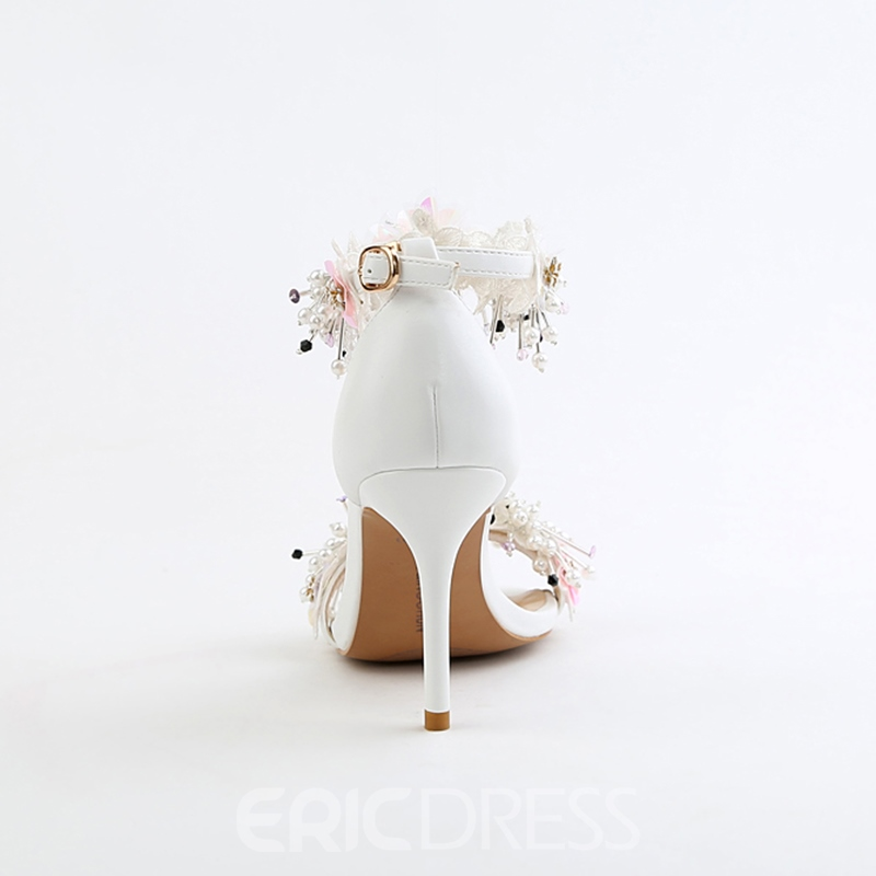 Ericdress Floral Open Toe Stiletto Heel Wedding Shoes with Beads