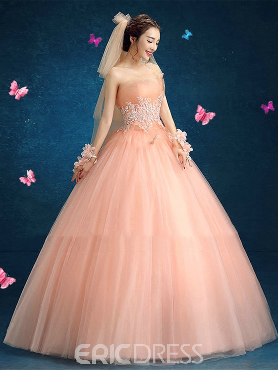 Ericdress Appliques Strapless Beading Ball Quinceanera Dress