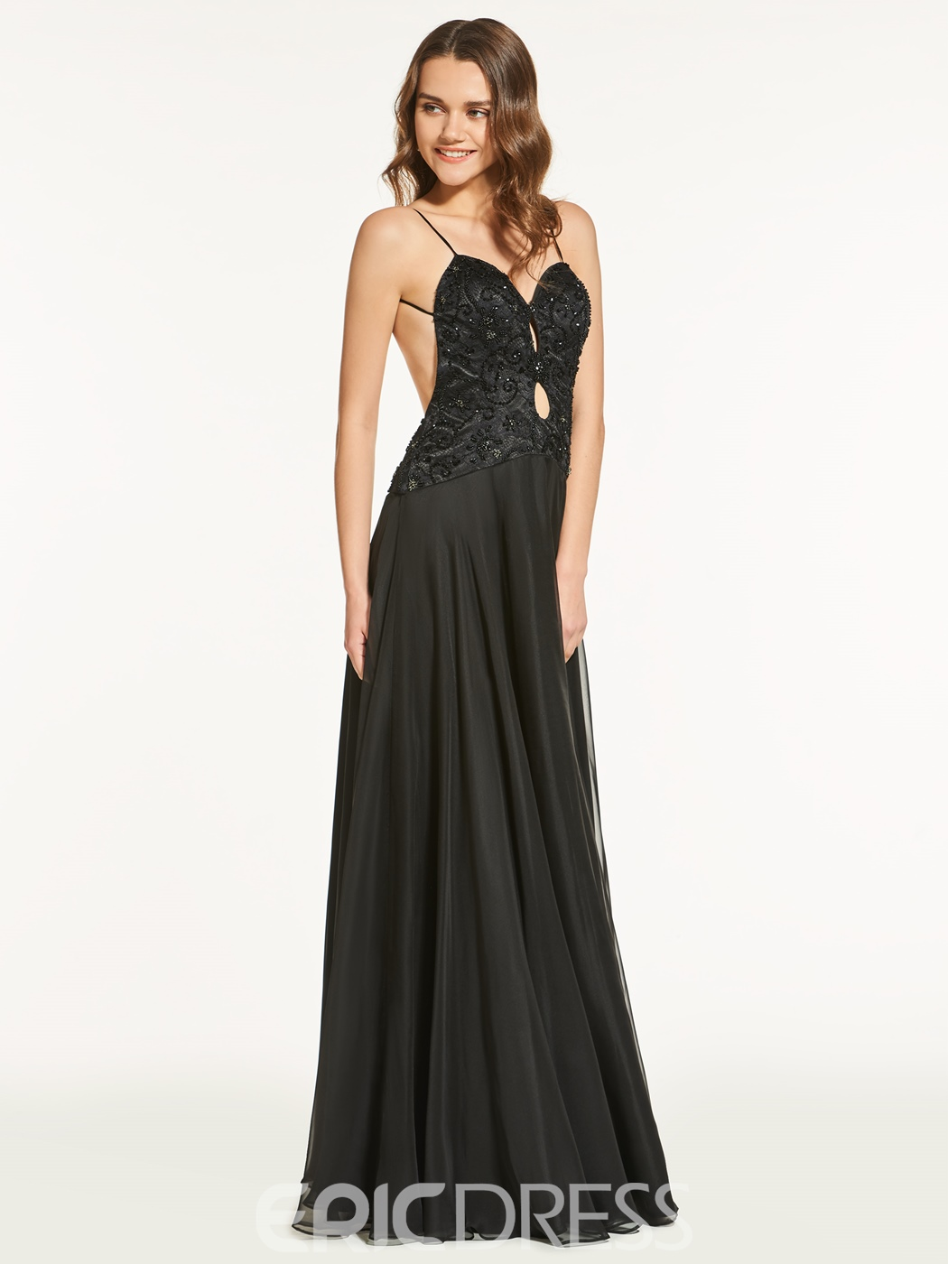 Ericdress A Line Spaghetti Straps Backless Prom Dress With Beadings