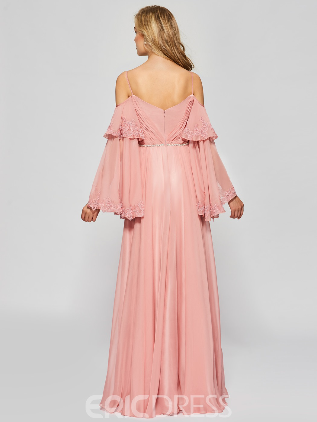 Ericdress A Line Spaghetti Straps Cold Shoulder Prom Dress With Long Sleeve