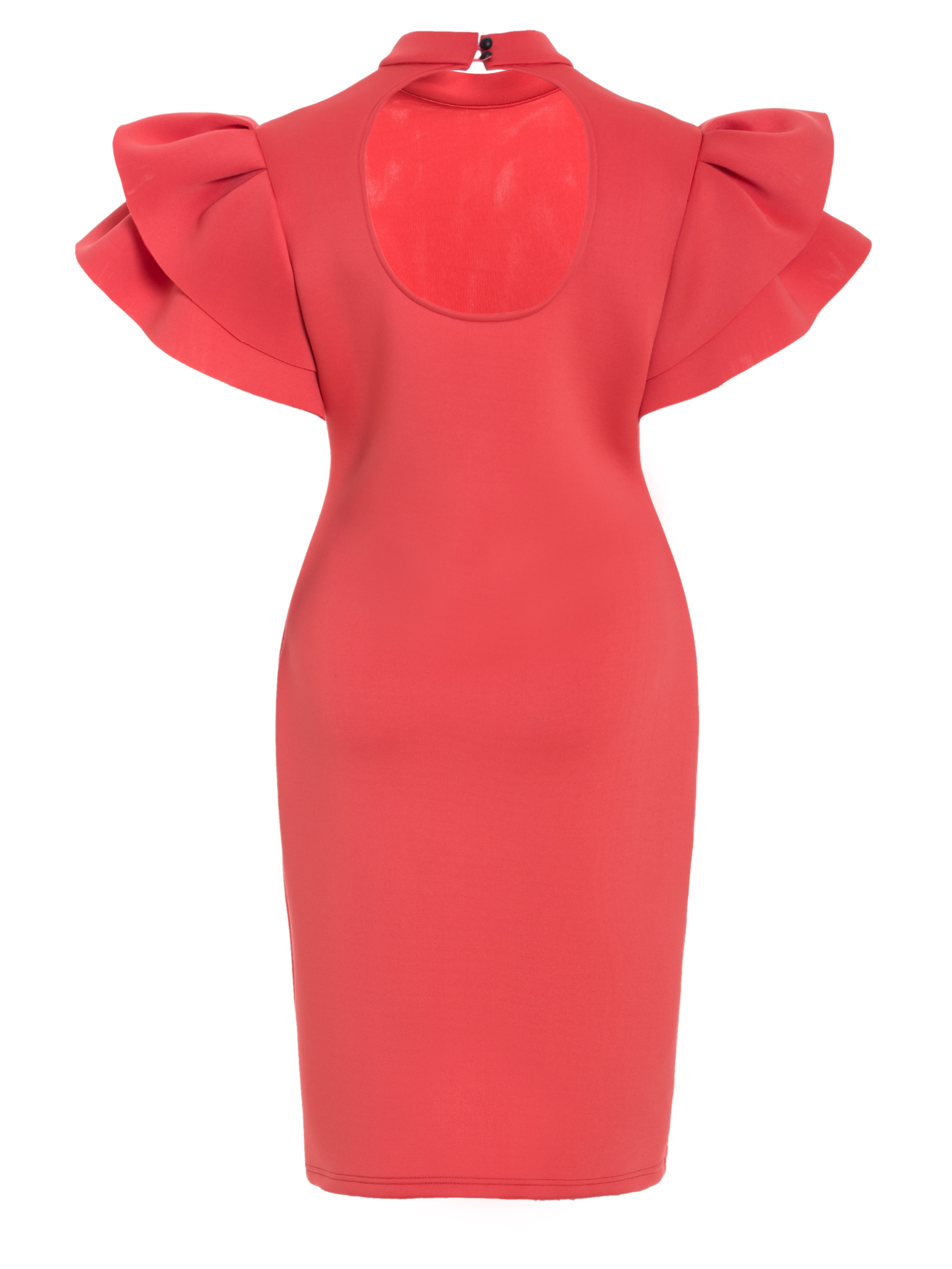 Ericdress Stand Collar Ruffle Sleeves Back Hollow Bodycon Dress