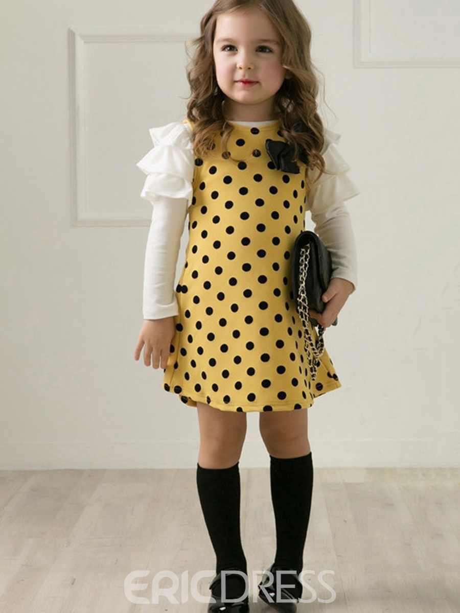 Ericress Lovely Polka Dots Falbala Girl's A-Line Dress