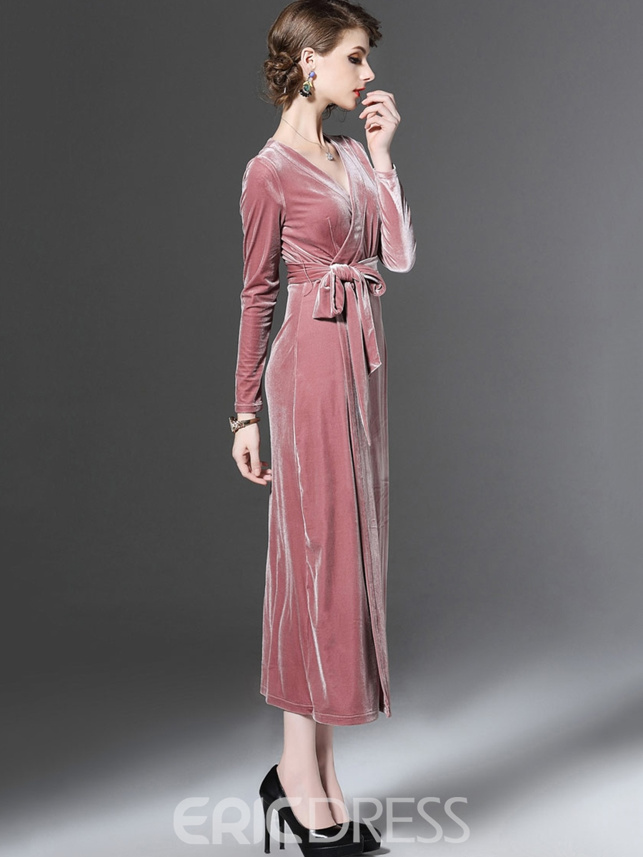 Ericdress Long Sleeve Ankle-Length Lace-Up Dress
