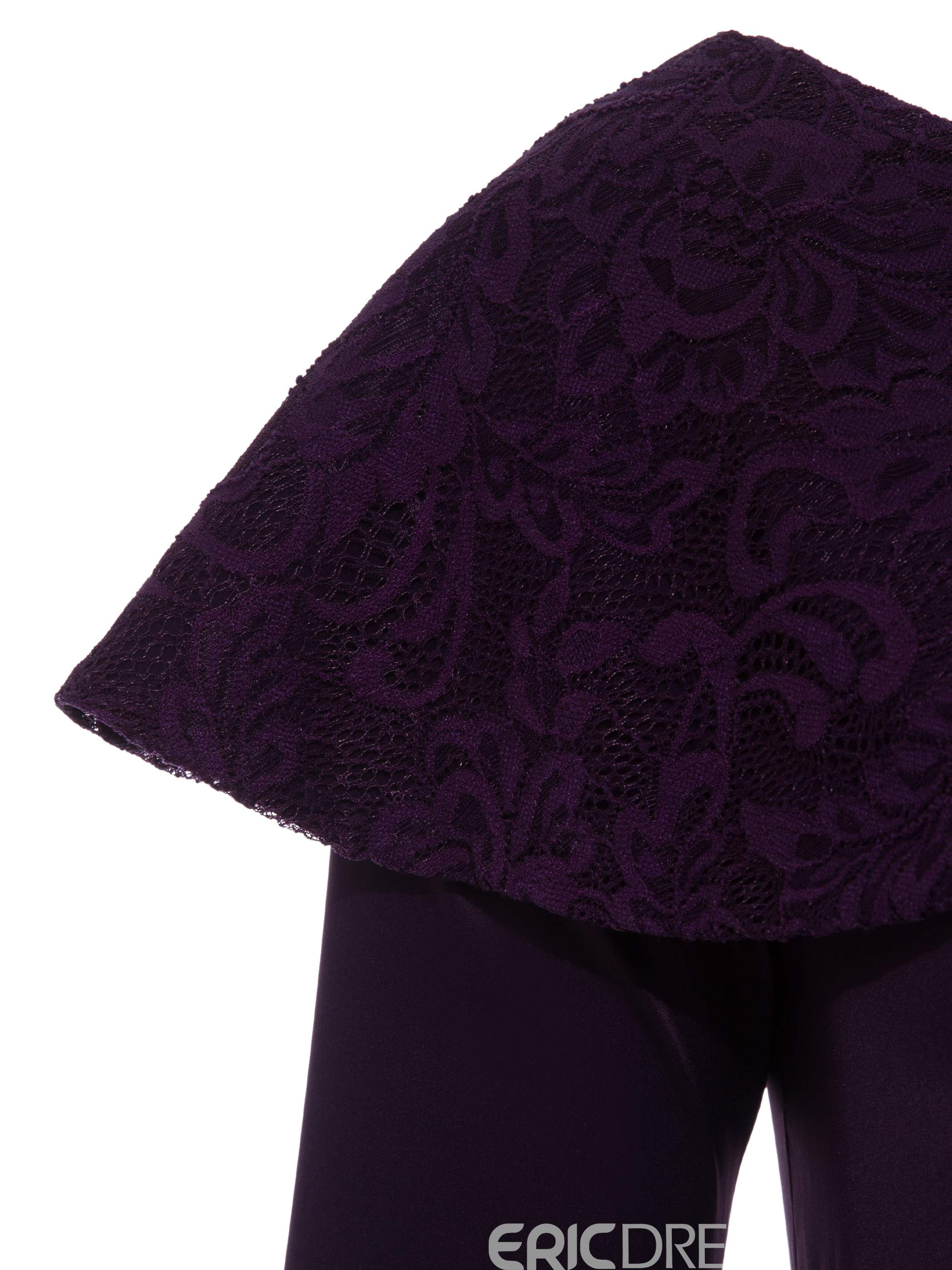 Ericdress Dark Purple Asymmetric Ruffle Lace Bodycon Dress