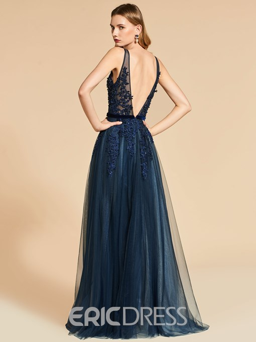 Ericdress A Line Straps Applique Backless Evening Dress With Beadings
