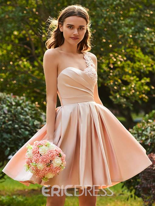 Ericdress Matte Satin A Line Pink Knee Length Bridesmaid Dress