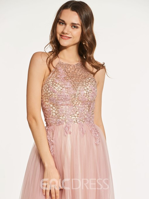 Ericdress A Line Halter Backless Sequin Prom Dress