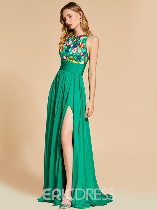 Ericdress A Line Scoop Neck Empire Embroidery Evening Dress With Side Slit