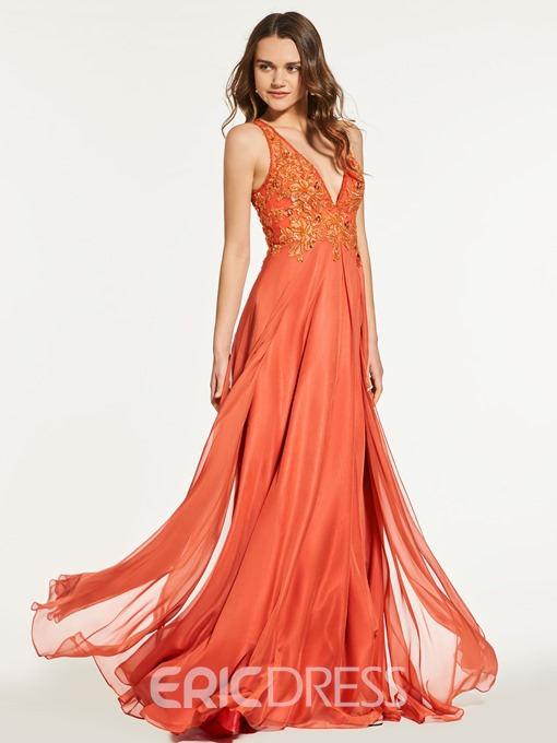 Ericdress A Line Deep V Neck Beaded Long Prom Dress With Button Back