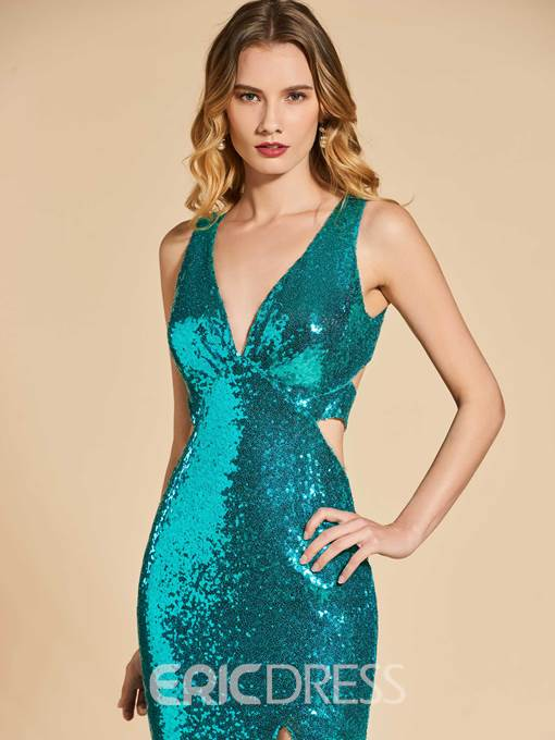 Ericdress V Neck Sequin Mermaid Evening Dress With Side Slit