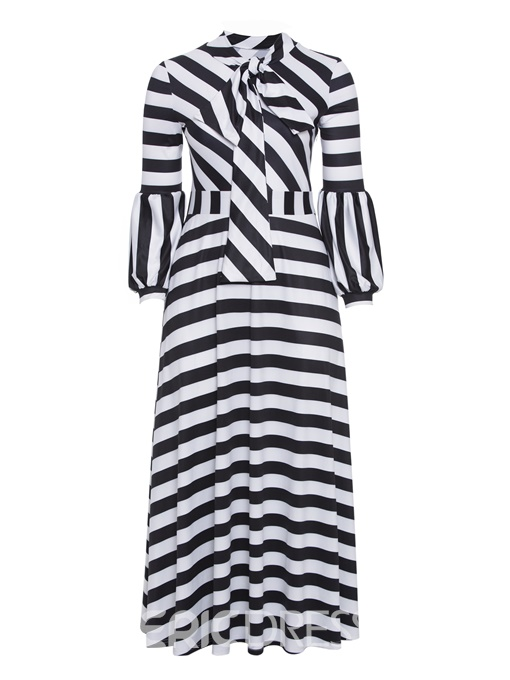 Ericdress Bow Collar Long Sleeve Plus Size Stripe Maxi Dress