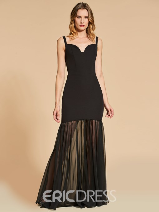 Ericdress Straps Mermaid Evening Dress With Side Slit