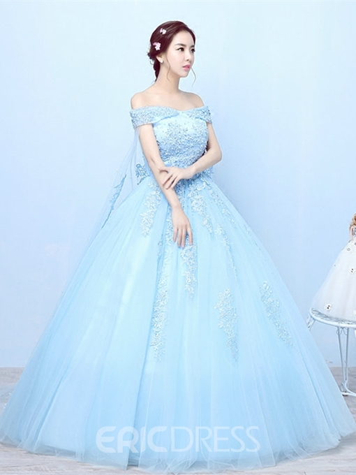 Ericdress Appliques Off-the-Shoulder Short Sleeves Quinceanera Dress