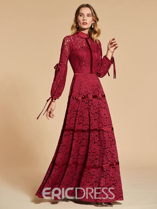 Ericdress Long Sleeves High Neck Vintage Lace Evening Dress