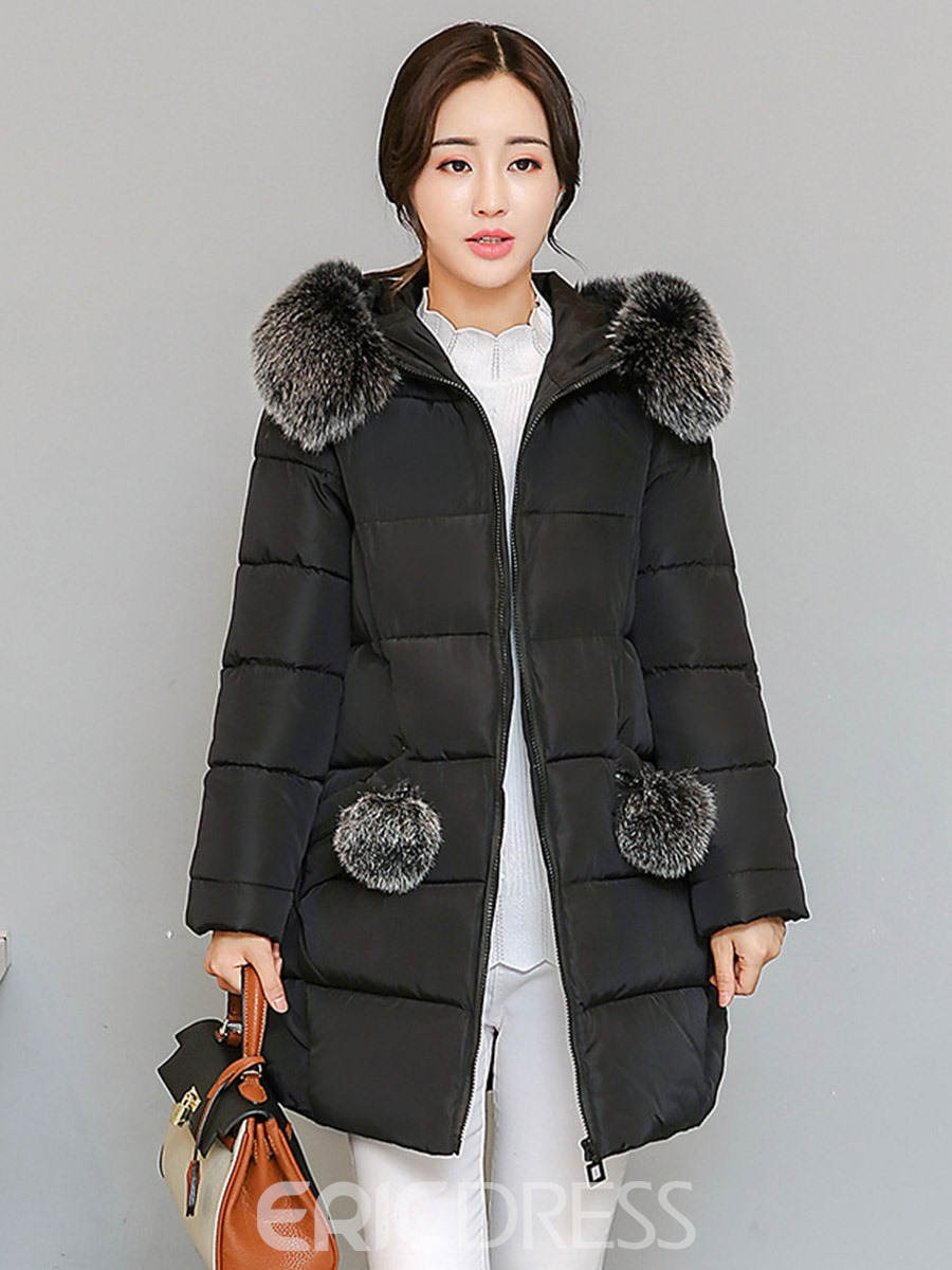 Ericdress Plain Mid-Length Thick Hooded Coat