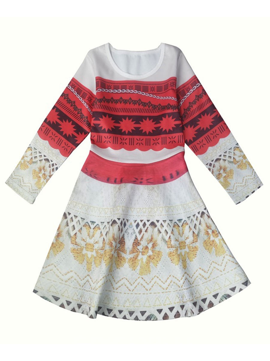 Ericdress Geometric Print Round Neck Girl's A-Line Dress