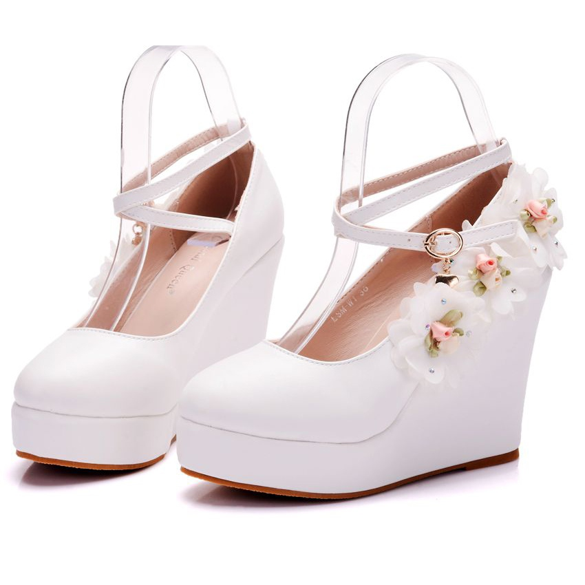 Ericdress Hasp Fl Platform Wedge Heel Wedding Shoes