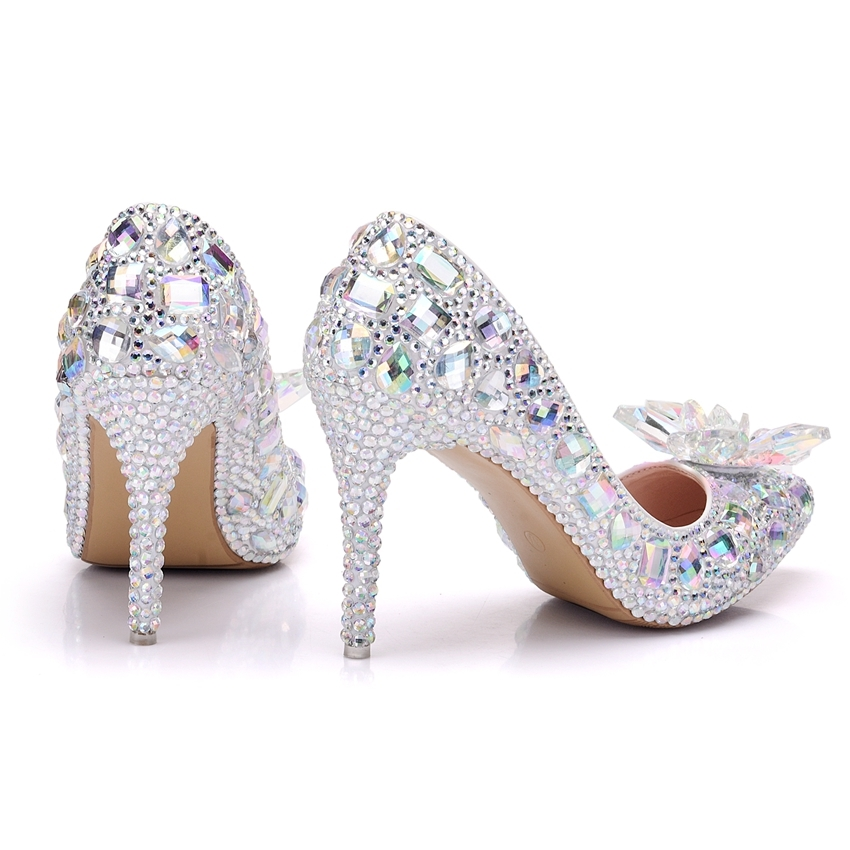 Ericdress Rhinestone Pointed Toe Low-Cut Stiletto Wedding Shoes