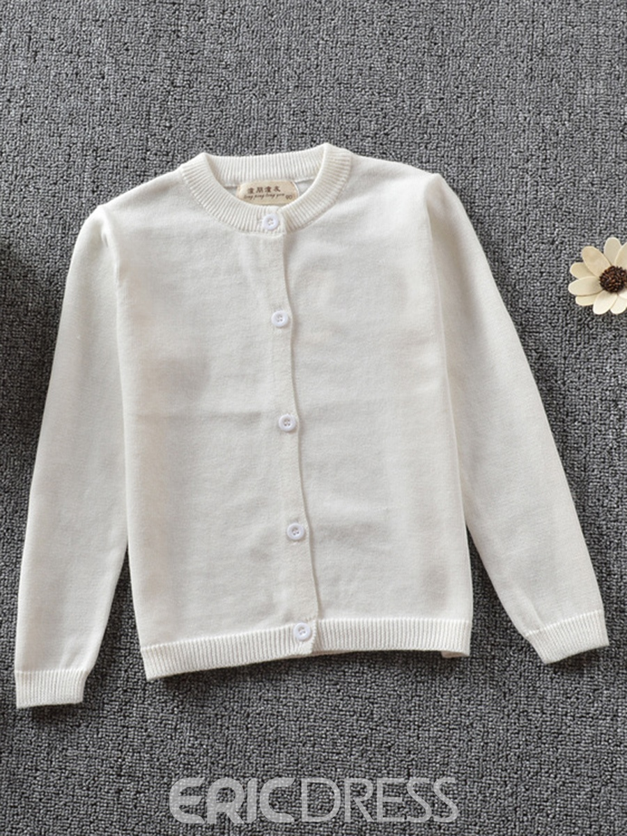Ericress Plain Single-Breasted Long-Sleeve Girl's Knit Cardigan