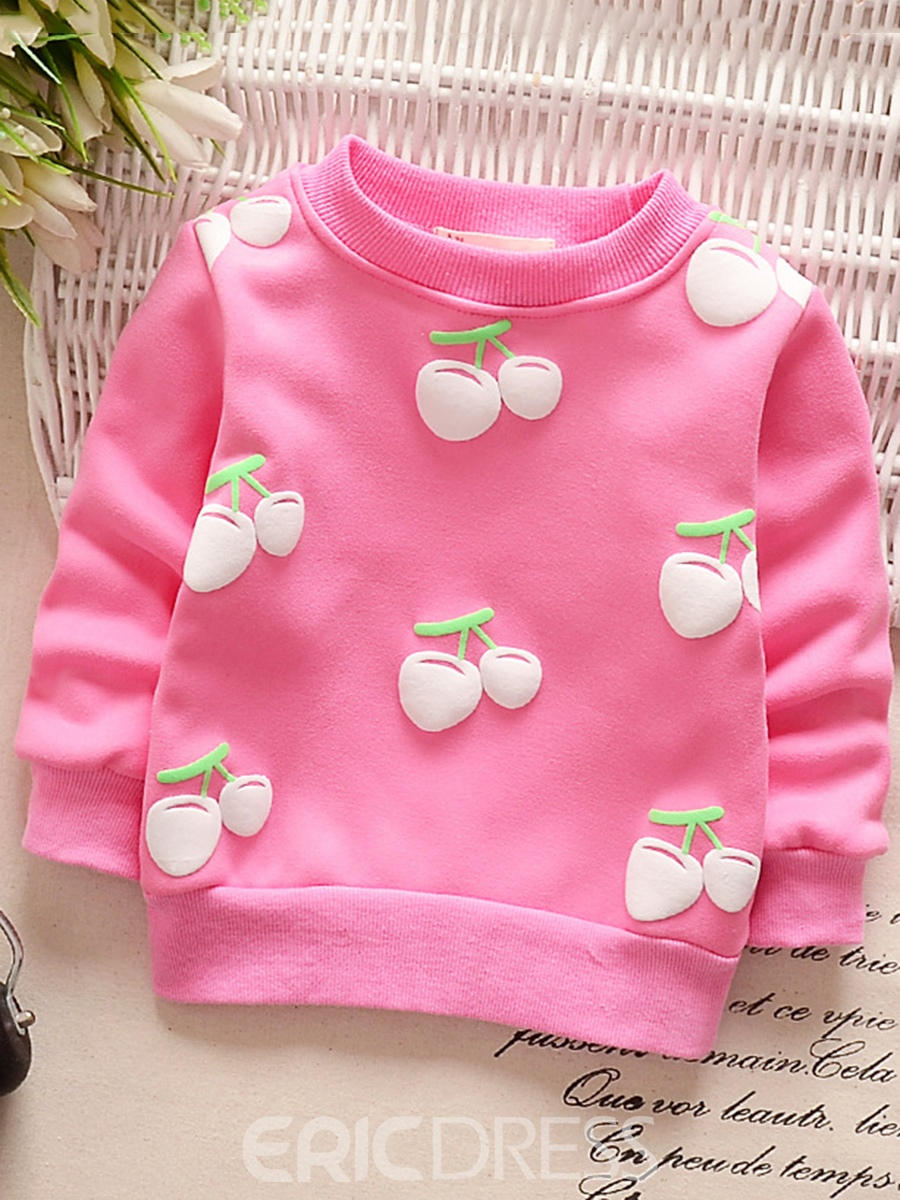 Ericdress Candy Color Fruit Print Thicken Baby Girl's Shirt