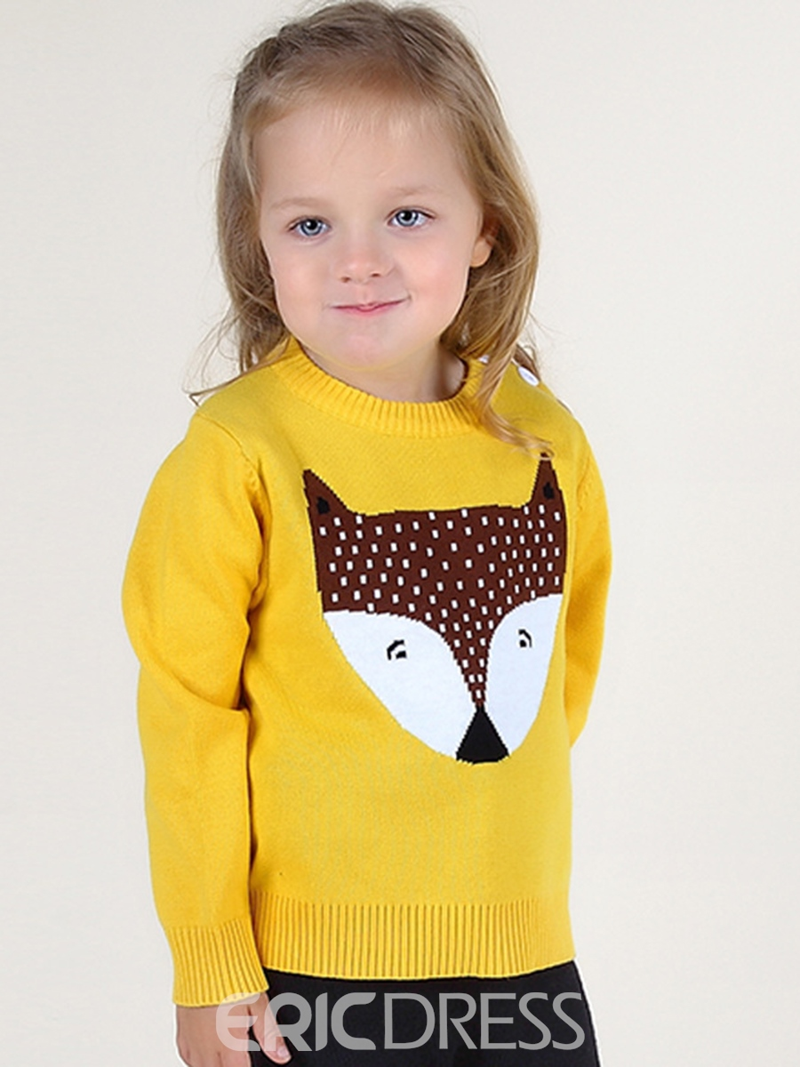 Ericdress Fox Print Round Neck Long Sleeve Baby Girl's Sweater