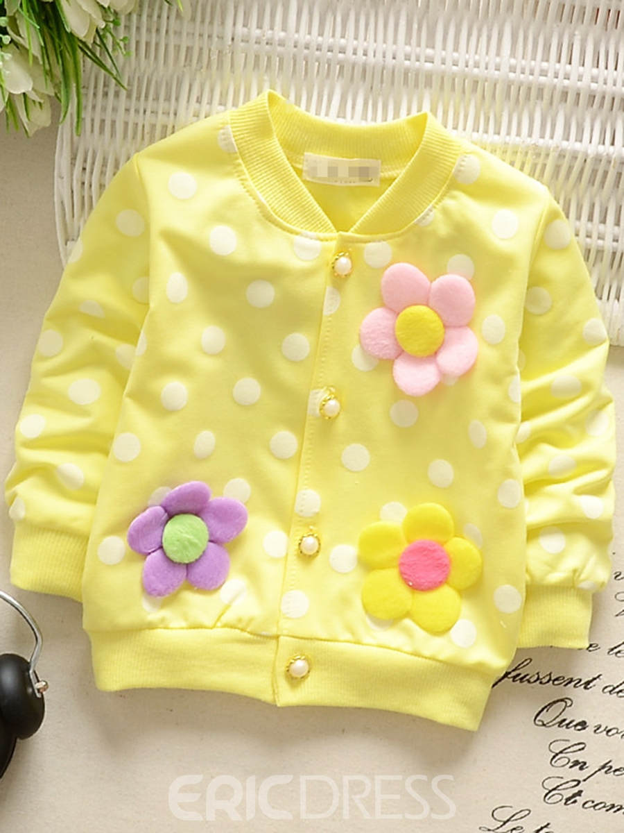 Ericdress Flower Patchwork Polka Dots Baby Girl's Cardigan