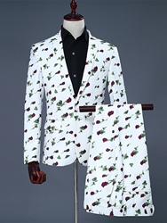 Ericdress Notched Lapel Print Color Block Fit Mens Suit