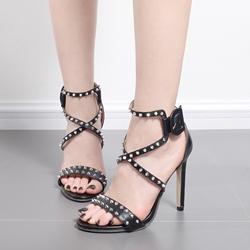 Ericdress Rivet Open Toe Plain Stiletto Sandals