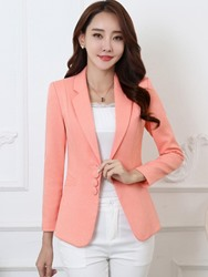 Ericdress Slim Single-Breasted Plain Blazer