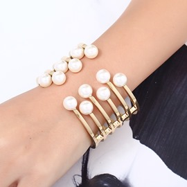 Ericdress Best Seller Gold Plating Imitation Pearl Open Bracelet