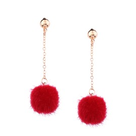 Ericdress Sweet Small Pom Pom Earrings for Girls