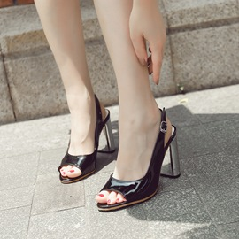 Ericdress Buckle Low-Cut Peep Toe Chunky Sandals