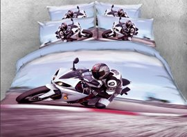 Vivilinen 3D Speeding Sports Motorcycle Printed 4-Piece Bedding Sets/Duvet Covers