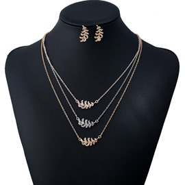 Ericdress All Match Diamante Leaf Women's Jewelry Set