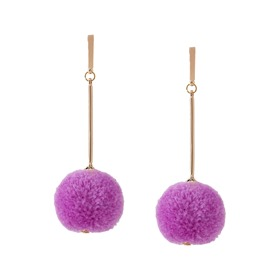 Ericdress All Match Ultra Violet Best Seller Pom Pom Earrings