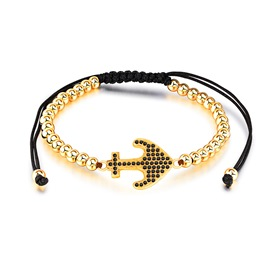 Ericdress Punk Style Diamante Anchor Men's Bracelet