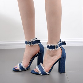 Ericdress Denim Open Toe Plain Chunky Sandals