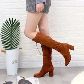 Ericdress Cross Strap Chunky Heel Knee High Boots