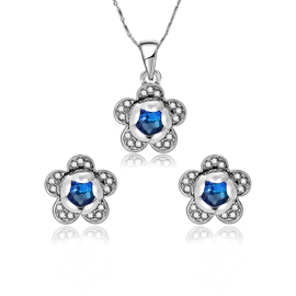Ericdress Sapphire Inlay Flower Pendant Women's Jewelry Set