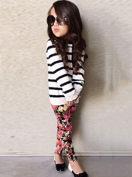 Ericdress Stripe T-Shirt & Floral Trousers Girl's 2-Pcs Outfit