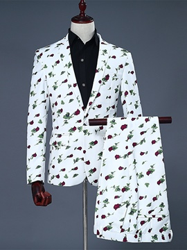 Ericdress Notched Lapel Print Color Block Fit Men's Suit