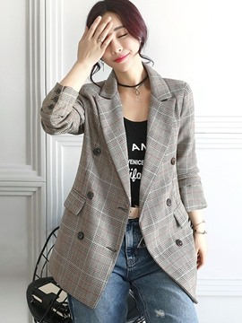 Ericdress Plaid Double-Breasted Mid-Length Blazer