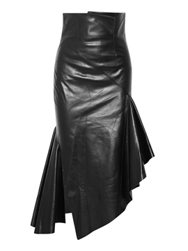 Ericdress Plain Asymmetrical PU Women's Skirt