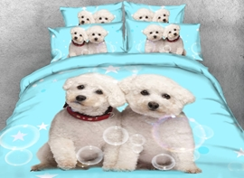 Vivilinen 3D Adorable White Puppies Printed 4-Piece Light Blue Bedding Sets/Duvet Covers