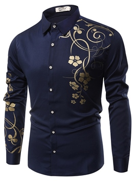 Ericdress Lapel Print Long Sleeve Ethnic Men's Shirt