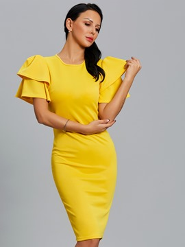 Ericdress Solid Color Puff Sleeve Zipper Bodycon Dress