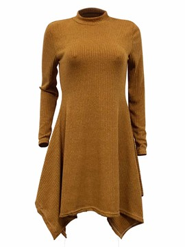 Ericdress Asymmetrical Stand Collar Long Sleeve Sweater Dress