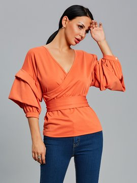 Ericdress V-Neck Pleated Lantern Sleeve Blouse