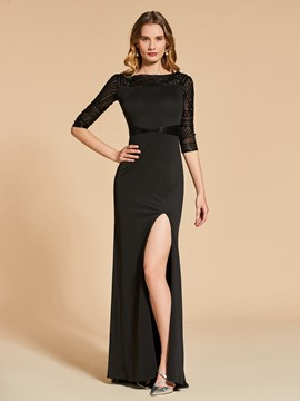 Ericdress Sheath Half Sleeve Beaded Evening Dress Attire With Side Slit