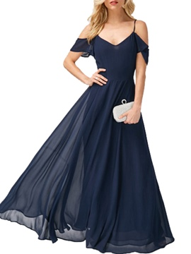 Ericdress Spaghetti Strap Off-the-Shoulder Floor-Length Expansion Maxi Dress